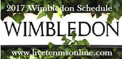 Wimbledon 2017 Schedule